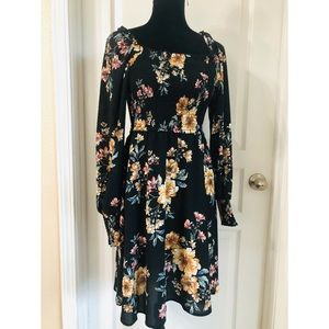 Exhilaration Floral Long Sleeve Dress